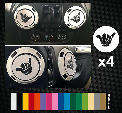 Shaka Hand Hands Decal stickers Hang Loose - fits Jeep Wrangler Air Vent Cover