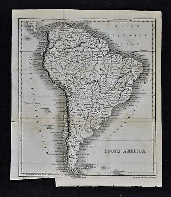 c 1824 Hall Map - South America - Brazil Argentina Peru Colombia Patagonia Chile
