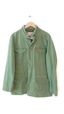 New Mens Levis Military Style Army Field Jacket Green