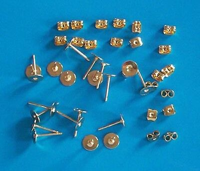 10 pairs of GP 6mm flat pad earring posts, incl scrolls, findings for jewellery
