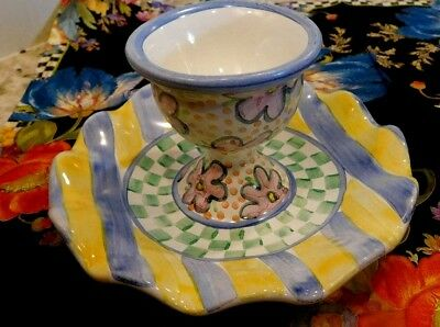 Mackenzie-Childs Taylor,myrtle,majolica Egg Cup,new