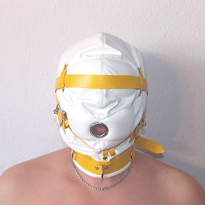 Hood White with Tan Trim Leather Total Sensory Deprivation  - Weiß(419)