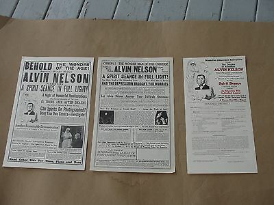 3 1929 Alvin Nelson Magic Show Seance Broadsides, Contract, Houdini, Conan Doyle