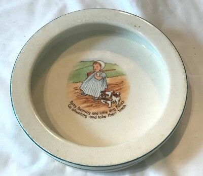 Cute Vintage Knowles Pottery Baby Feeding Dish Baby Bunting Goes Hunting