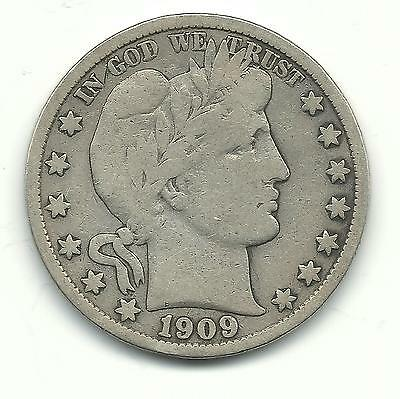 Fine Better Date 1909 S Barber Silver Half Dollar-Inverted S Variety-Feb066