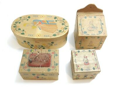 4 Vintage 1940's Era Early American Old Spice Boxes - Sewing, Bath Salts, Band