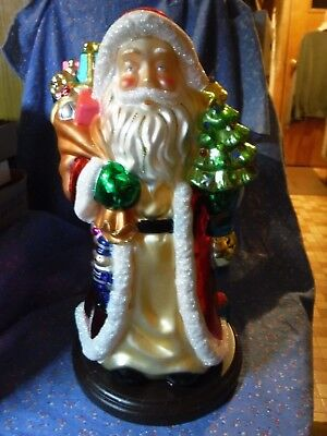 "Beautiful Thomas Pacconi Blown Glass Santa Claus Figurine Wood Base 16"" High"