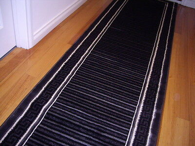Hallway Runner Hall Runner Rug 3 Metres Long Modern Black FREE DELIVERY