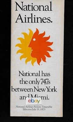 National Airlines System Timetable 6/15/73 747's Mia/jfk-I'm Bonnie Call Me F/a