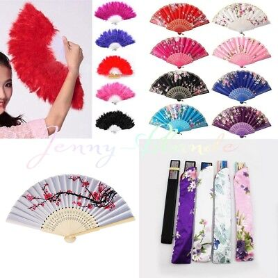 Lace Fabric Feather Folding Hand Held Dance Fan Party Wedding Prom Embroidery