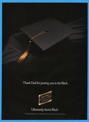1992 Johnnie Walker Black Label Scotch Thank Dad Graduation Cap & Gown Print Ad