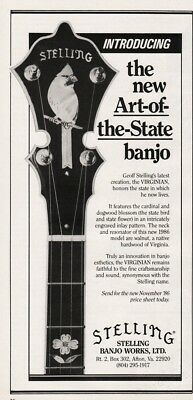 1987 Stelling Banjo Works Ltd Afton VA Virginian Art of the State Banjo Intro Ad