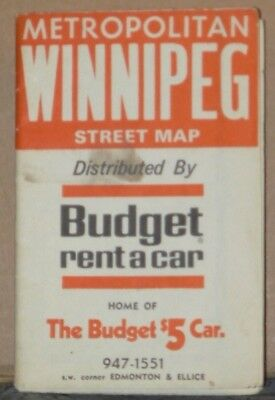 1974 Street Map of Winnipeg distributed by Budget Rent-A-Car