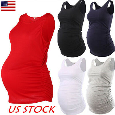 Women Strappy Vest Tank Tops Camisole Maternity Pregnant Yoga Casual T-shirt Tee