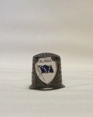 Alaska Pewter Thimble with State Flag