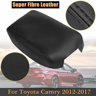 New Auto Black Leather Center Console Lid Armrest Cover For Toyota Camry 12-17