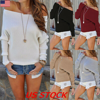 US Womens Off the Shoulder Chunky Knit Jumper Ladies Oversized Baggy Sweater Top