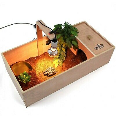 Tortoise Table Small Pet Reptile Wooden House Hide Shelter Den with Run