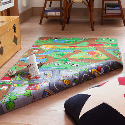 Fun Bright Kids Reversible Play Rug Roads Mat Farm Animal Childs Bedroom Mat NEW