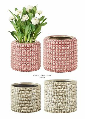 Villa Collection Ceramic Morrocan Tiled Indoor Plant Flower Pot Brown or Pink