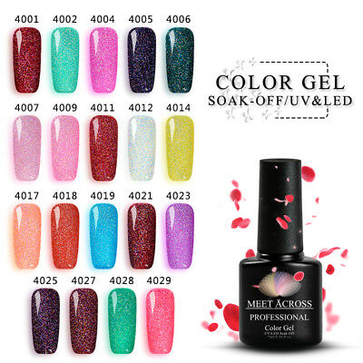 MEET ACROSS 7ml UV Gel Nail Polish Soak Off Rainbow Glitter Gel Nails Decor 2018