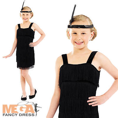 108aa2490 1920S BLACK FLAPPER Girls Fancy Dress Charleston 20s Kids Childs ...