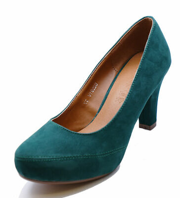 Ladies Green Low-Heel Smart Work Slip-On Casual Comfy Court Shoes Sizes 2-7