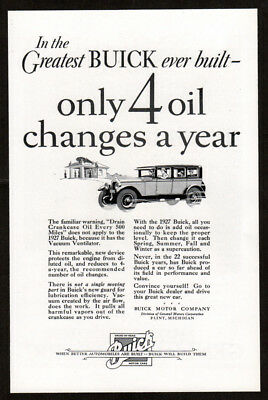1926 BUICK Antique Vintage Original Print AD 4-door art only 4 oil changes year