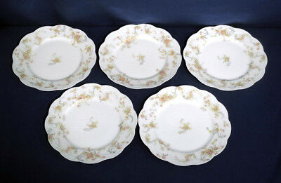 """Haviland Limoges China The Princess 5 Luncheon Plates 8-1/2"""""""