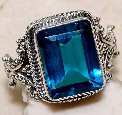 925 Silver Plt Blue Sapphire  Aquamarine Ring Wedding Party Jewelry Square Type