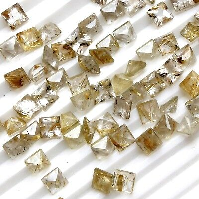 Lot of 4 to 8mm Square Cut Golden Rutilated Quartz Loose Calibrated Gemstone