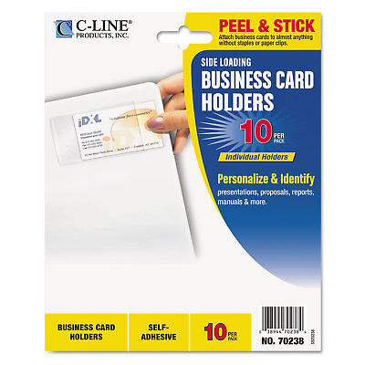 C-Line Self-Adhesive Clear Business Card Holders (5 Packs of 10)