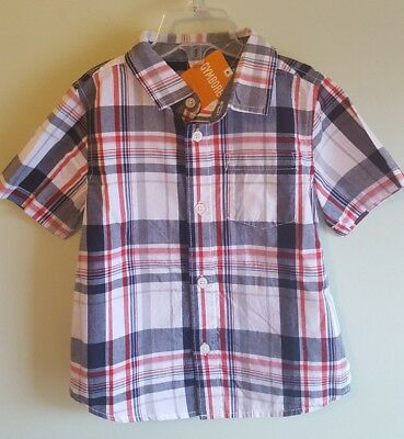 NEW Gymboree Boys 12-18 2T 3T Short Sleeve Plaid Dress Shirt RED WHITE BLUE