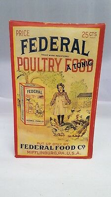 Vintage Advertising Veterinian Historic Federal Poultry Food Tonic Sealed 524-X