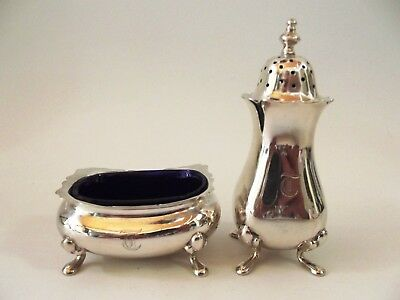 Antique Silver Pepper & Salt  Cruet Set Birmingham 1918 Ref 146/5