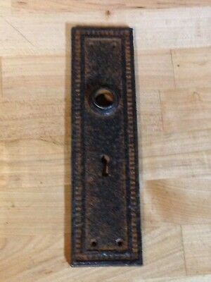 "Antique Vintage Cast Iron Gothic 9"" Door Knob Key Hole Lock Plate Part"