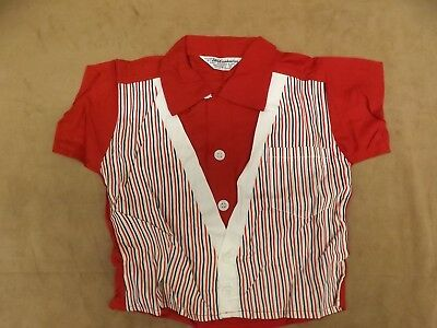 Vtg 1950s NEW Rockabilly Retro Loop Collar Vested Look Button Down Shirt Boys 2