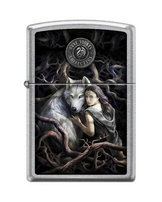 Zippo 5815 Anne Stokes-Wolf With Woman Street Chrome Finish Lighter
