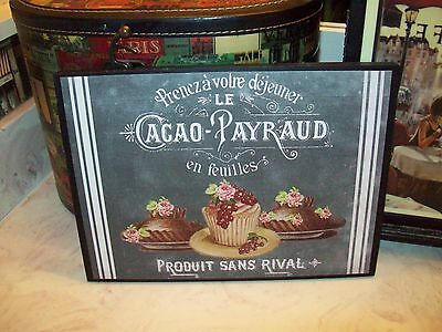 Large Shabby French wall decor desserts plaque chalkboard look Paris vintage