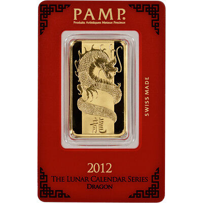 1 oz. Gold Bar - PAMP Suisse - Year of the Dragon - 999.9 Fine in Sealed Assay