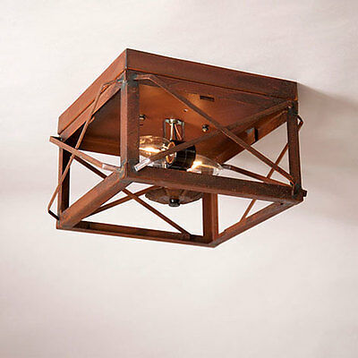 Country new square RUSTY tin double folded bar ceiling light / nice