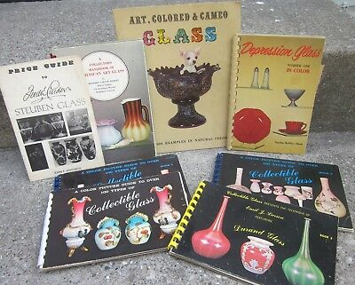 COLLECTIBLE GLASS books Art Colored Cameo lot of 7 vtg Steuben Durand 1960s