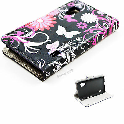 Flip Stand Leather Card Pocket Wallet Cover Case For LG Optimus L5 II Dual E455