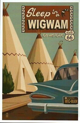 Wigwam Village Motel, Holbrook Arizona, Historic Route 66, Car - Modern Postcard