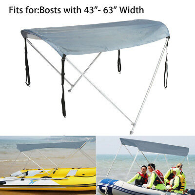 2 Bow Anti-UV Fit 45-63'' Width Boat Canopy Cover With Aluminum Tubes Straps