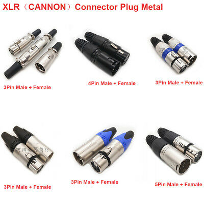 Female/ Male 3-5 Pin/Pole XLR Microphone Audio Cable Connector Plug Metal Colour