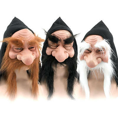 Gnome Mask Mens Fancy Dress Halloween Hobbit Wizard Troll Goblin Adults Costume