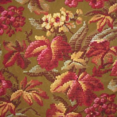 BEAUTIFUL ANTIQUE 19th CENTURY FRENCH LINEN & COTTON, AUTUMN LEAVES