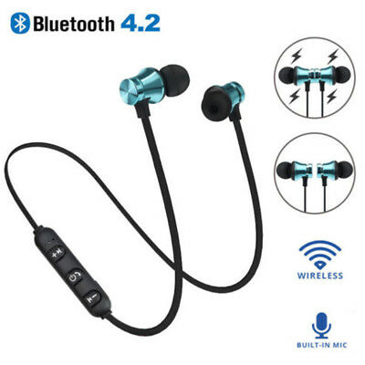 Bluetooth 4.2 Stereo Earphone Headset Wireless Magnetic In-Ear Earbuds Headphone