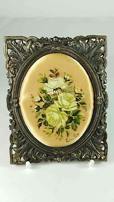 White Roses Small Framed Painted Cloth